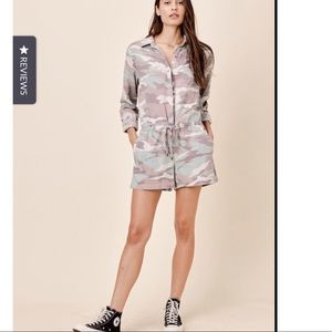 Camo pocketed long sleeve romper
